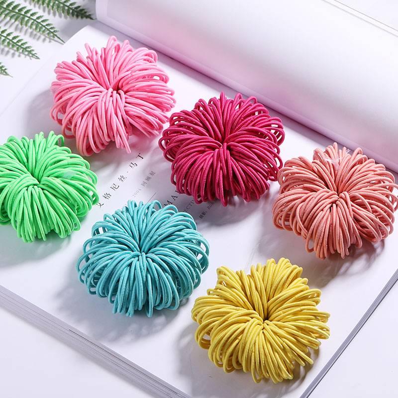 Elastic Nylon Hairbands 100 pcs Set Kids Girls Accessories cb5feb1b7314637725a2e7: Black Colorful Lavender Light Green Navy Blue Orange Pink Red Rose Red Sky Blue Yellow