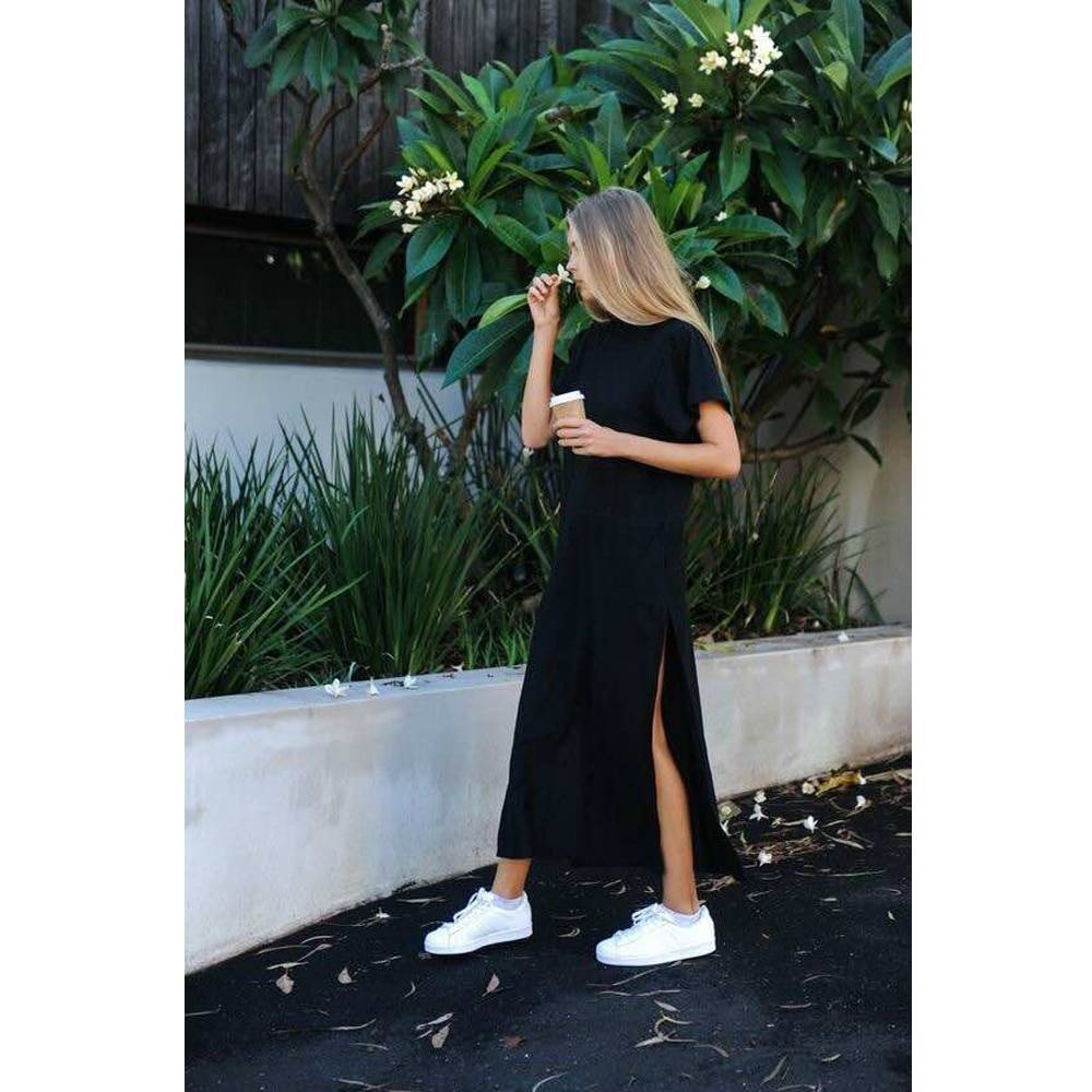 Women's Long Split Dress Women Clothing Dresses cb5feb1b7314637725a2e7: Black