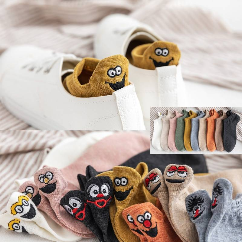 Women's Kawaii Embroidered Socks Women Accessories Socks cb5feb1b7314637725a2e7: Beige|Black|Blue|Brown|Green|Light Tan|Orange|Pink|White|Yellow