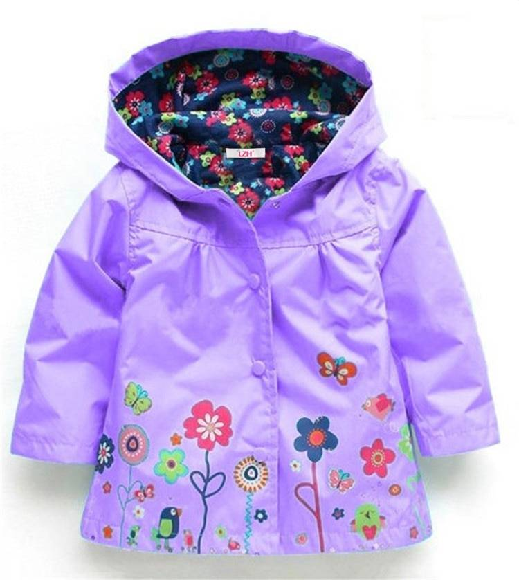 Girl's Bright Floral Nylon Jacket Kids Hoodies, Sweatshirts and Coats cb5feb1b7314637725a2e7: Black|Blue|Dark Blue|Dark Green|Green|Lavender|Pink|Red|Rose Red|Yellow